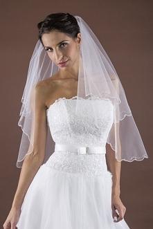 Welon do sukni ślubnej zdobiony kryształkami