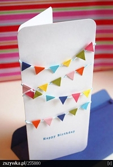 Prosta kartka urodzinowa - chorągiewki.