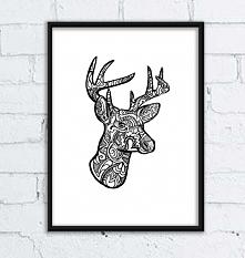 Grafika z jeleniem o imieniu Daniel. Format a3. Do kupienia w atelio.pl