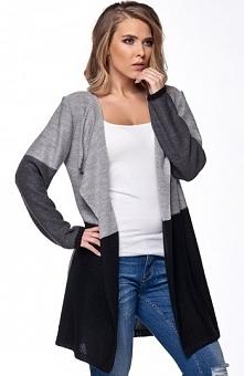 Lemoniade LS160 sweter jasny szary Kobiecy sweter, niezapinany, przedłużany f...