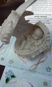 Exploding Box - Pamiątka Chrztu Świętego  małego Michałka z figurką