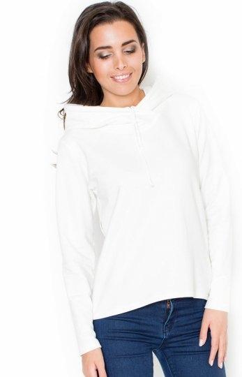 Katrus K290 bluza ecru Modna bluza damska, wykonana z gładkiej bawełny, długi rękaw