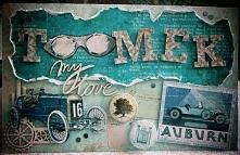 Kartka samochodowa! :) Cała propozycja prezentu na blogu! :)  wielobarwny.blo...