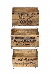 Zestaw 3 drewnianych skrzynek dekoracyjnych z nadrukami retro.  Materiał : dr...