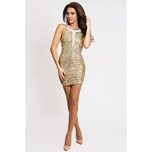 *Sylwester* Cekinowa sukienka złota.  Dopasowana mini sukienka pokryta cekina...