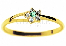 WZ 558 Złoty pierścionek zaręczynowy z okrągłym szmaragdem i brylantami 0,05 ...