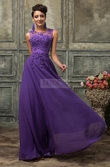 Suknia wieczorowa z perłami, fioletowa gipiura r.36 - r.54