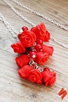Czerwony wisiorek z modeliny fimo, handmade