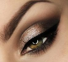 makijaż w złocie i brązie