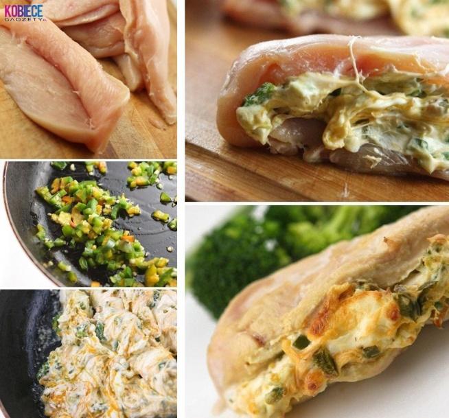 """Faszerowana pierś INACZEJ... Pyszny obiadek :) Potrzebne będą nam piersi z kurczaka oraz: -2 łyżki oliwy rozgrzać na patelni, -2 zielone posiekane papryczki jalapeno (są to ostre papryczki, można je spokojnie zastąpić zwykła papryka) , -3 posiekane ząbki czosnku, Całość wsypujemy na rozgrzana patelnie i smażymy 3minuty. Następnie dodajemy 230 gram serka kremowego i po chwili dodajemy 1/4 szklanki sera cheddar (można go spokojnie zastąpić serem salami) wszystko mieszać aż sie rozpuści. Nadzieniem """"wypchamy"""" piersi i zabezpieczamy je wykałaczkami przed wydostaniem sie nadzienia. Piec w nagrzanym piekarniku przez 30-35minut. Po upieczeniu nie zapomnij wyjąć wykałaczek, podawać na ciepło. Jeżeli ktoś chce to może nawet podać do piersi sos guacamole."""
