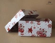 Opakowanie na prezent, białe w czerwone bombki