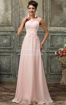 Suknia wieczorowa z perłami, jasny róż r.36 - r.54