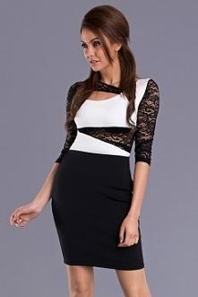 Dopasowana niezwykle seksowna sukienka.Koronkowy dłuższy rękaw.Czarno-biały kolor sprawia,że sukienka pasuje do każdego typu urody.