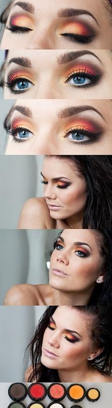 Żółty, pomarańczowy, czerwony i brązowy... Czyli podstawowe kolory jesieni w jednym make up ;)