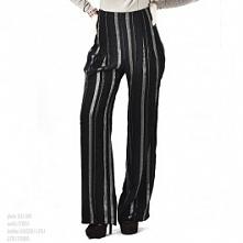 Eleganckie, szerokie spodnie ze srebrnymi paskami Łatka fashion