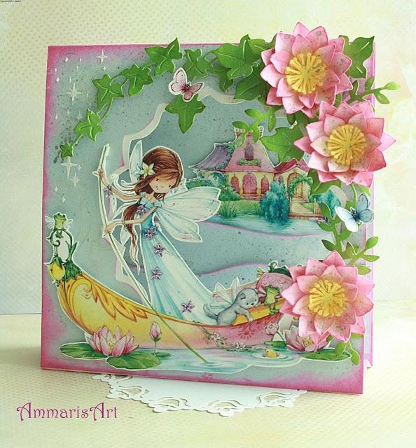Bajkowa kartka urodzinowa dla dziewczynki, kartka namiotowa