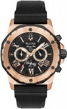 zegarek męski Bulova Marine Star, świetny design, elegancki wygląd, chronograf, neobrite, koperta w kolorze złota, wygodny gumowy pasek