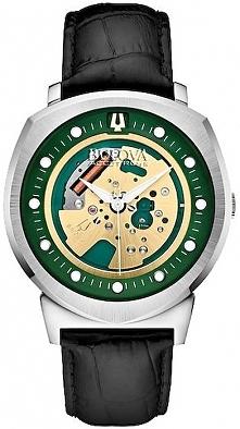oryginalny zegarek męski o nietypowej kopercie i ciekawej stylistyce, Bulova Accutron na czarnym skórzanym pasku