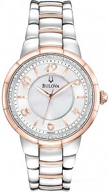 Zegarek Bulova Diamond to delikatny, kobiecy zegarek na bransolecie bikolor z perłową tarczą otoczoną prawdziwymi diamentami