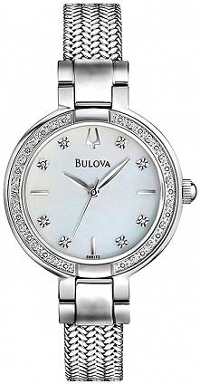 zegarek Bulova z prawdziwymi diamentami, perłową tarczą i pięknie plecioną bransoletą