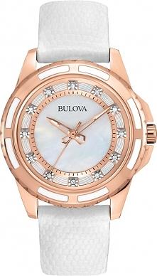 zegarek z diamentami, wyjątkowo kobiecy i delikatny, perłowa tarcza, biały skórzany pasek, koperta i wskazówki w kolorze złota