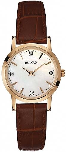 zegarek damski z diamentami Bulova Diamond, skórzany brązowy pasek, koperta w kolorze złota