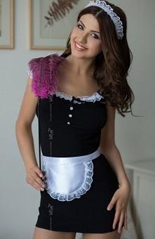 Softline Jane kostium Kuszący kostium pokojówki, sukieneczka wykonana z czarnej dzianiny, doskonale dopasowuje się do sylwetki