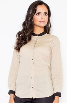 Figl M157 koszula beż Elegancka koszula damska, wykonana z gładkiego materiał...