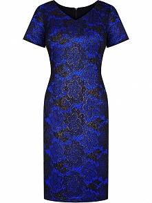 Elegancka sukienka z koronki, czarno – niebieska