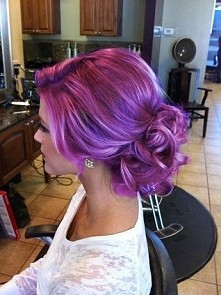 purple pink hair fiolet + róż