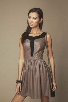 Brązowa rozkloszowana mini sukienka
