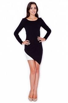 Czarna mini sukienka z długim rękawem