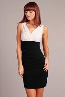 Dopasowana czarno-biała sukienka z dekoltem na plecach