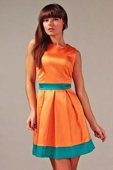 Śliczna sukienka rozkloszowana koralowo turkusowa