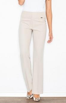 Figl M420 spodnie beż Eleganckie spodnie damskie, szerokie nogawki, zapinane ...