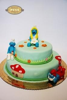 Kolejna porcja smerfciastego tortu ;)