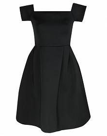 Rozkloszowana sukienka gorsetowa z pianki, czarna