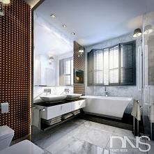 Łazienka w stylu klasycznym. Biały i czarny marmur z dodatkiem dekorów o oryg...