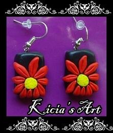 Czerwone kwiatki kolczyki :)