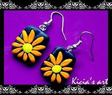 Kolczyki kwiatki pomarańczowe :)