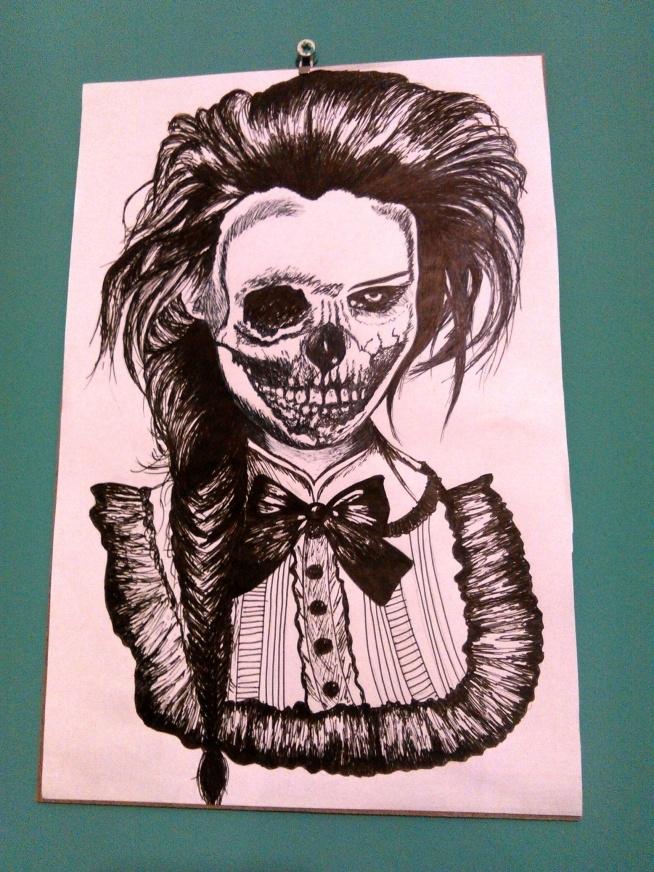 Zombie woman drawing  Wykonany cienkopisem