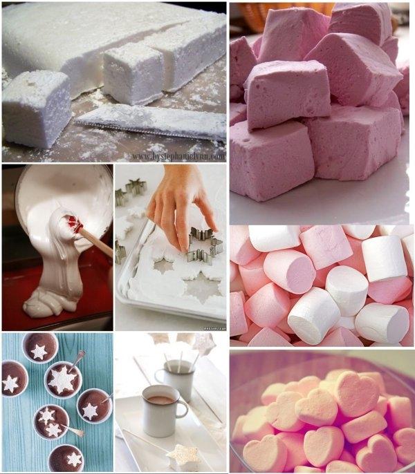 Domowe pianki marshmallows ♥♥♥ Musisz je zrobić !!! Przepis na 20 sztuk: 1 łyżka żelatyny, 1 szklanka cukru (około 200g), 150 ml zimnej wody, 1 łyżka soku wiśniowego, niewielka ilość oleju rzepakowego, Żelatynę wsypać do miski, dodać do niej 60mlzimnej wody i dokładnie wymieszać. w niewielkim rondelku zagotować pozostałą wodę, dodać do niej cukier. Gotować na wolnym ogniu 10 minut, często mieszać. Przygotować ręczny mikser. Napęczniałą żelatynę spulchnić widelcem, włączyć mikser na średnie obroty. Cienką strużką wlać do żelatyny syrop cukrowy. Miksować przez 20 minut, po 10 minutach wlać syrop wiśniowy. Niewielki pojemnik (o wymiarach 20cm na 15cm) wyłożyć papierem do pieczenia i posmarować olejem. Odstawić masę na 3 godziny do lodówki. Po tym czasie wyjąć pianki na oprószony cukrem pudrem blat i pokroić w zgrabne kostki...