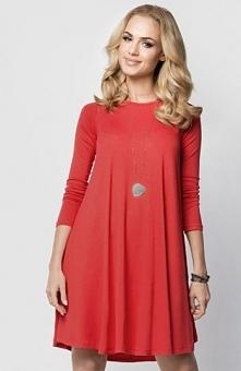 Makadamia 010 sukienka czerwona Kobieca sukienka, luźny i rozkloszowany fason, długi rękaw