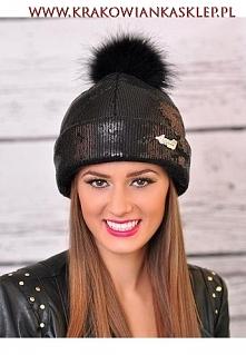 czapka na zimę z cekinami k...
