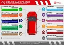 Infografika Motointegrator.pl - jak często wymieniać części samochodowe, co ile robić przegląd samochodu, ile kosztuje naprawa auta? O co i kiedy zadbać w aucie?