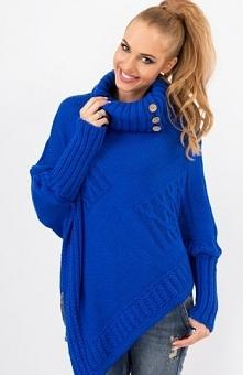 Makadamia S09 sweter chabrowy Elegancki ciepły sweter, wywijany golf, zdobiony duzymi drewnianymi guzikami