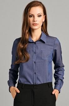 Misebla M0142 koszula niebieska Modna koszula, klasyczny fason, z kołnierzykiem