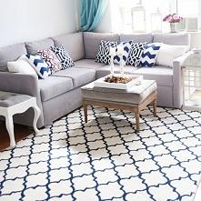 Wełniany dywan,mięsisty i miękki wzór koniczyna marokańska.