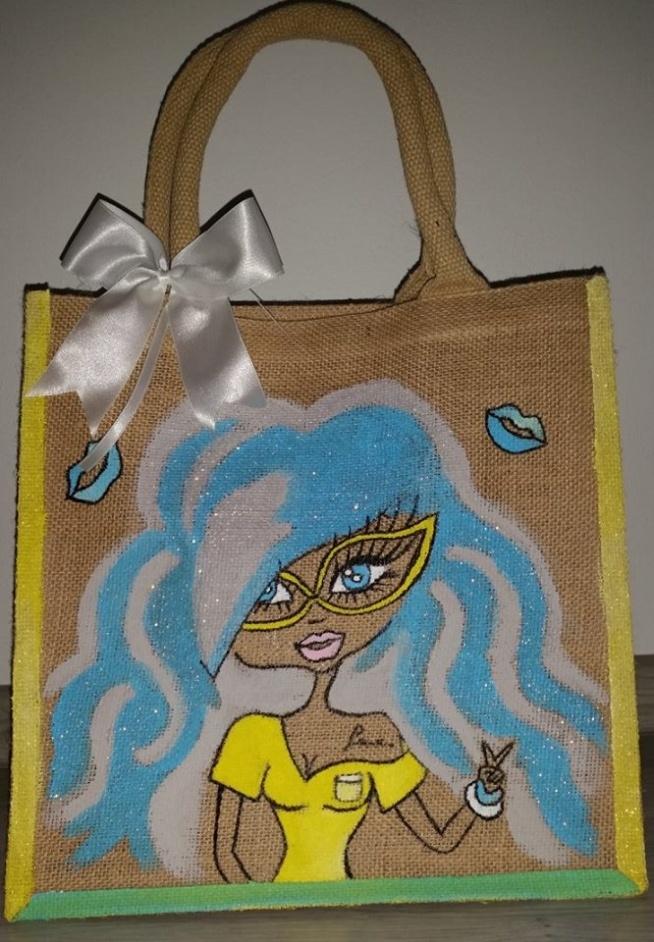 Midi Juta Bags torba recznie malowana, uzyte zostały specjalne farby odporne na scieranie i pranie. Mozliwosc indywidualnego doboru kolorow.Idealna na prezent do szkoły czy na zakupy. Cena 50 zl