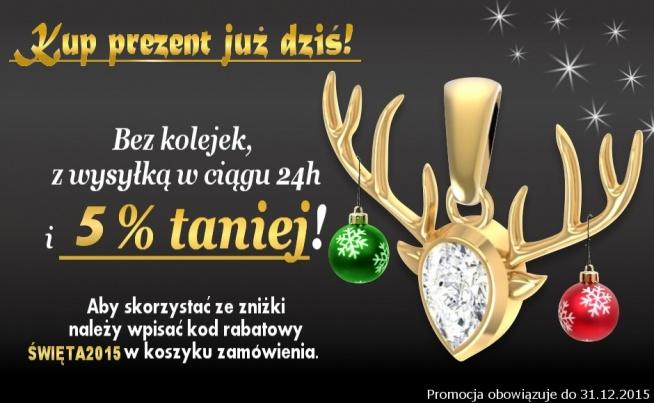 Zapraszamy do sklepu angelgold.pl gdzie do każdego zakupu otrzymasz 5% rabatu wisując kod rabatowy ŚWIĘTA2015. Pozdrawiamy i życzymy Wesołych Świąt:)